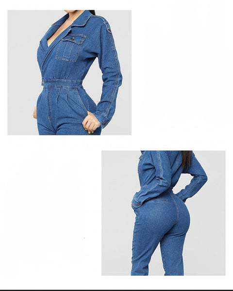 Women Denim Jumpsuit Ladies Long Sleeve Jeans Rompers Female Casual Plus Size Denim Overall Playsuit With Pocket