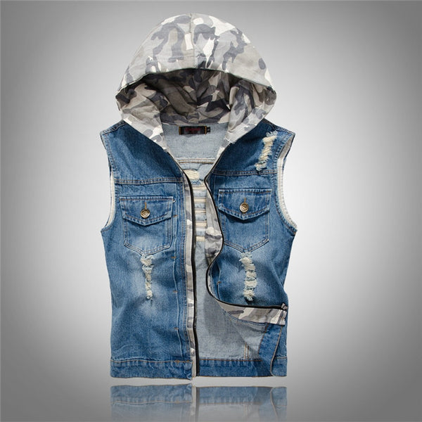 Summer Men`s Jeans Vest With Detachable Hood Slim Fit Washed Vintage Retro Dark Blue Denim Sleeveless Jacket For Men
