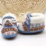 Cute Baby Shoes Spring Warm Soft Baby Retro Printing Shoes Cotton Padded Infant Baby Boys Girls Soft Boots 6-12M
