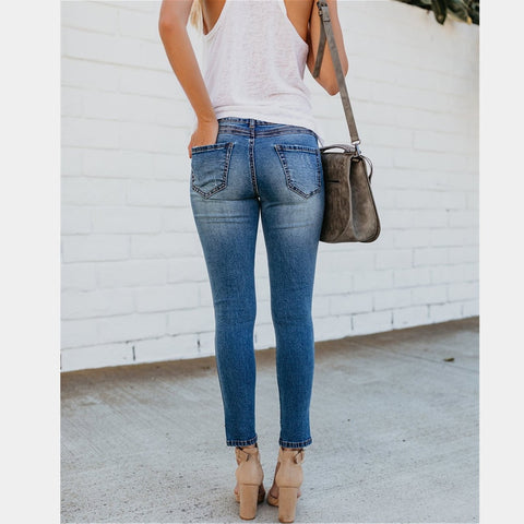 Summer new hot stretch ladies jeans Slim high waist casual jeans hole female jeans retro feet pants female pencil jeans