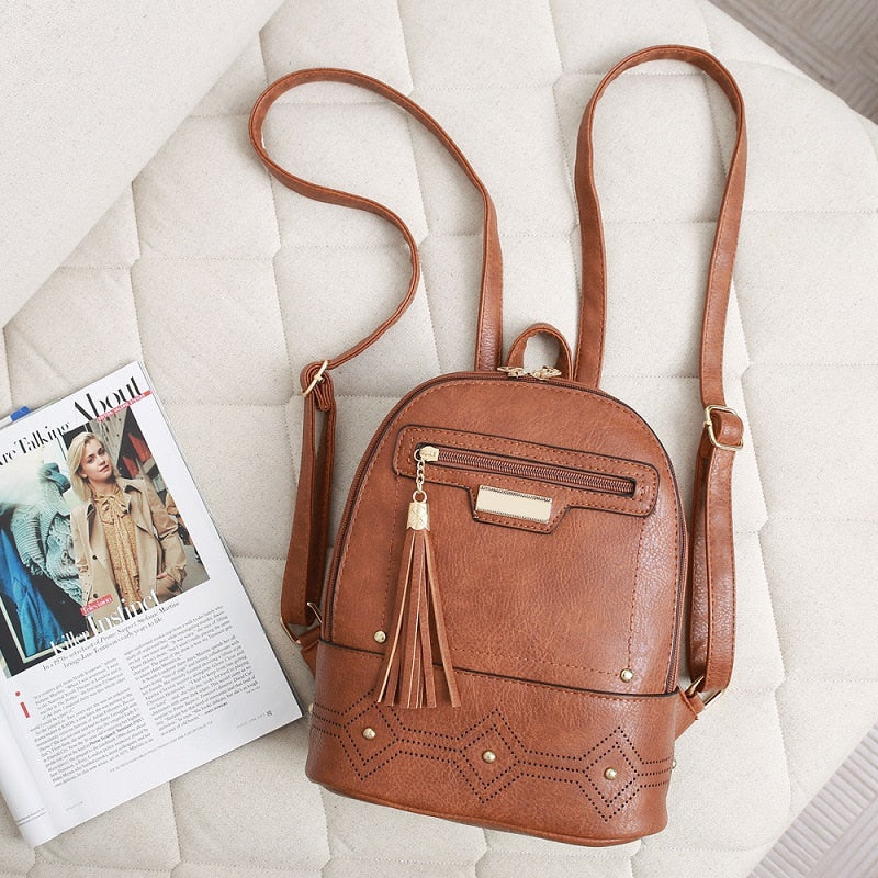 Vintage Women Backpack High Quality Leather Backpacks Tassel Backpack Female Shoulder Bag Mochila Feminina School Bags