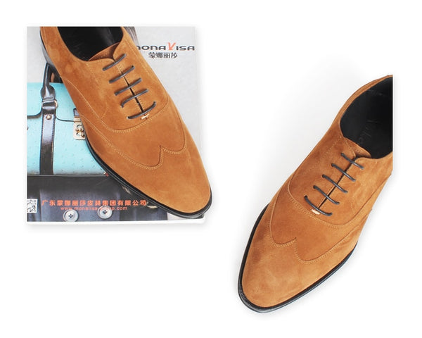 Genuine Suede Oxford Shoes For Men Lace-Up Flat Custom Made Dress Leather Shoes Wedding Office Men's Brown