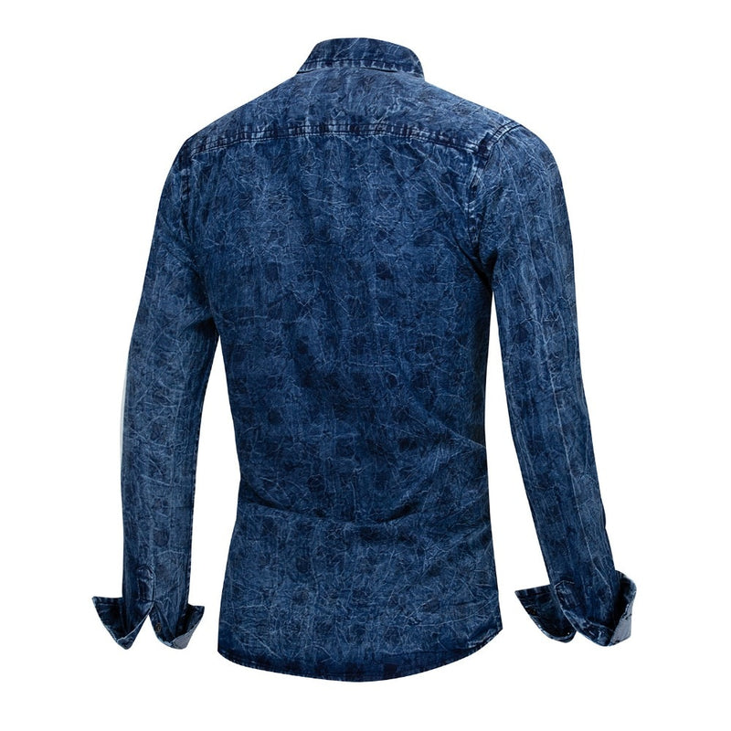 New Spring Men's Shirts Casual Long Sleeve Slim Fit Jeans Shirt Denim Uniform Shirt Military Style Male Slim Shirts