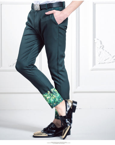 Free Shipping New  man male slim trousers casual pants men's ninth trousers thin fashion green printed