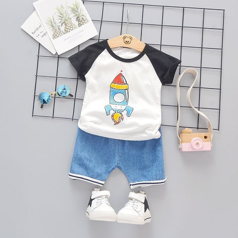 Summer Children Girl Boys Kids Clothing Cartoon Rocket T-Shirt Shorts 2pcs/Sets Infant Clothes Fashion Cotton Costume Tracksuits