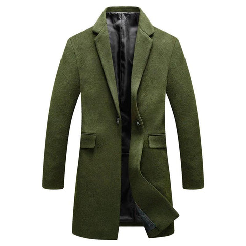 Winter Wool Coat Men Fashion Slim Fit Mens Pea Coat Casual Wool Blend Long Jacket Men Plus Size