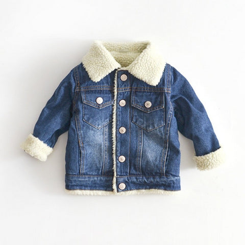 Jacket For Girls Boys Autumn Winter Plus Cashmere Thicken Jeans Coat Children Clothes Warm Fashion Baby Denim Jackets 2-6Y