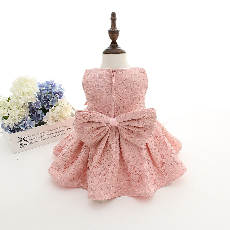 f6772c76afbc Newborn Baby Girl Dresses with Cap Super Back Bow Diamand Belt Baby ...