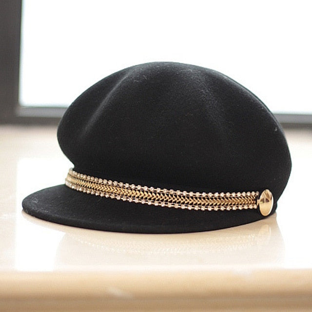Women Wool Felt Hats Winter Cap Elegant Golden Chain Visor Style  Newsboy Cap Cabbie Beret Hat for Ladies Girls 4 Colors