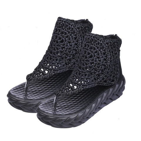 Thick Sole Knit Women Sandals Rome Zipper Flats Summer Gladiator Shoes Comfortable High Top Anti Skid Platform Shoes