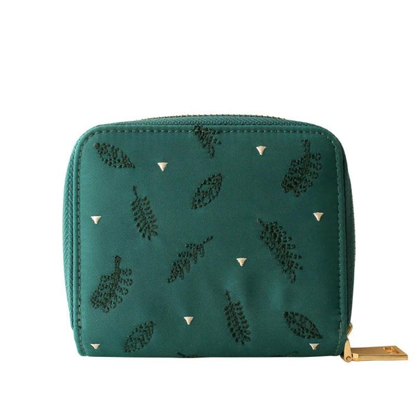 Nylon Embroidery Floral Short Wristlet Clutch Wallet Women Purse Ladies Bags with Card Holder Small Handbag