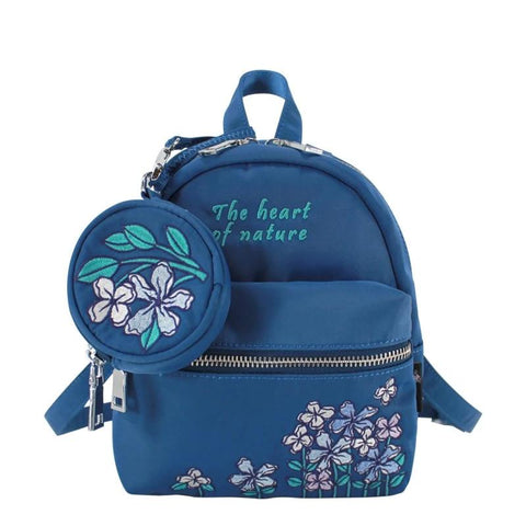 Flower Princess Original Embroidery Backpack Women Nylon Waterproof Small Backpacks School Bag for Teenager Girls Mini Backpack