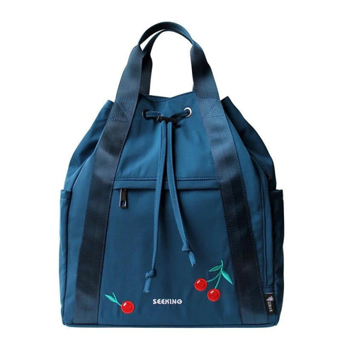 Flower Princess Embroidery Cherry Backpack Women Large Capacity Girls Bag