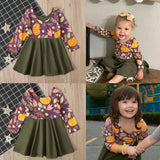 US Halloween Baby Girls 1T-6T Elegant Pumpkin Printed T-shirt Dress Outfit Clothes
