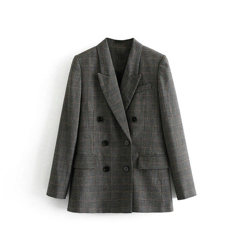 women checked double breasted suit jacket designer blazer new arrival women blazer pockets work wear suit outwear