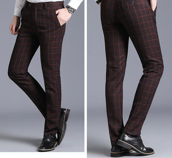Classical British Men Pants Plaid Striped Trousers Male High Quality Business Work Casual Slim Fit Mens Suit