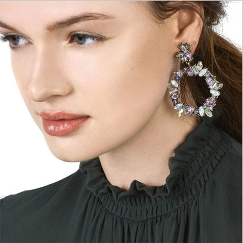 Luxury Brand Crystal Bride Jewelry Dangle Earrings Glass Rhinestone Geometric Brincos for Women Party Wedding Gift New