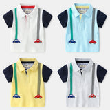Summer Boys Polo Shirt Cartoon Car Short Sleeve Polo Shirt For Boy Lapel Solid Tops Cotton Shirt For Kids