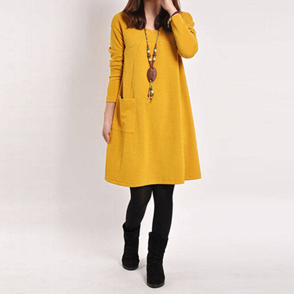 Autumn Winter Long Blusas Women Long Sleeve Pocket Dress Solid O Neck Casual Loose Dresses Vestidos