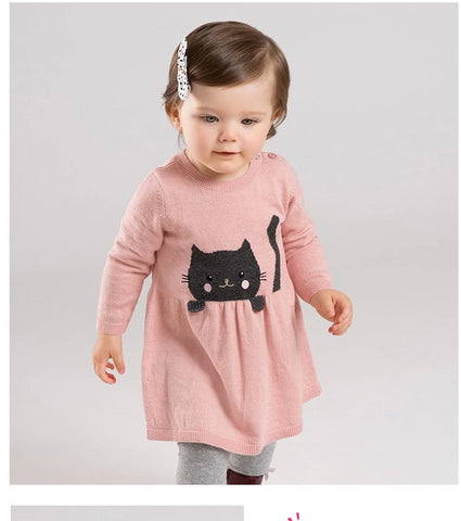 Autumn baby girl's princess cute cat sweater dress children fashion party dress kids infant clothes