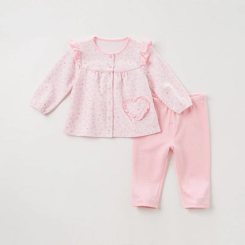 Autumn baby girls fashion pink print heart clothing sets kids cute long sleeve sets children 2 pcs suit