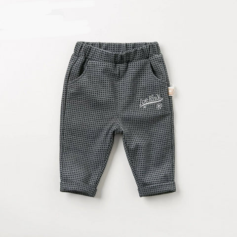 Autumn spring baby boys plaid pants children full length kids pants infant toddler trousers