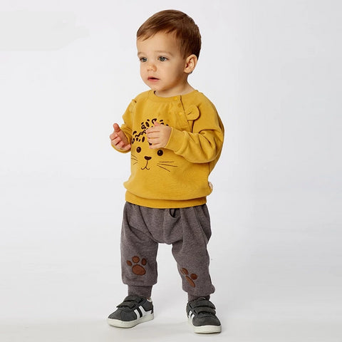 Autumn spring baby boys fashion clothing sets  long sleeve pants  yellow suits children print clothes
