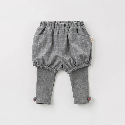 Spring autumn baby girls fashion plaid pants children full length kids pants infant toddler trousers