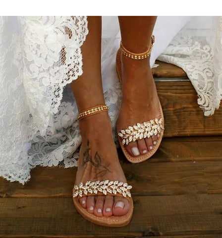 Summer Flat Sandals Women Fashion Rhinestone Open Toe Buckle Sandals Wedding Party Plus Size 34-43