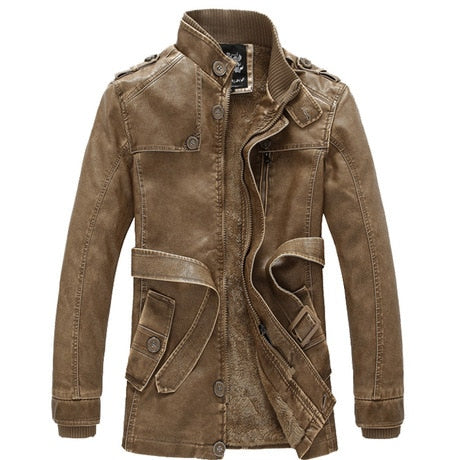 Mens Trench New Winter PU Jacket Men Leather motorcycle Thicken long trench coat Jackets Outerwear Male Warm Overcoat