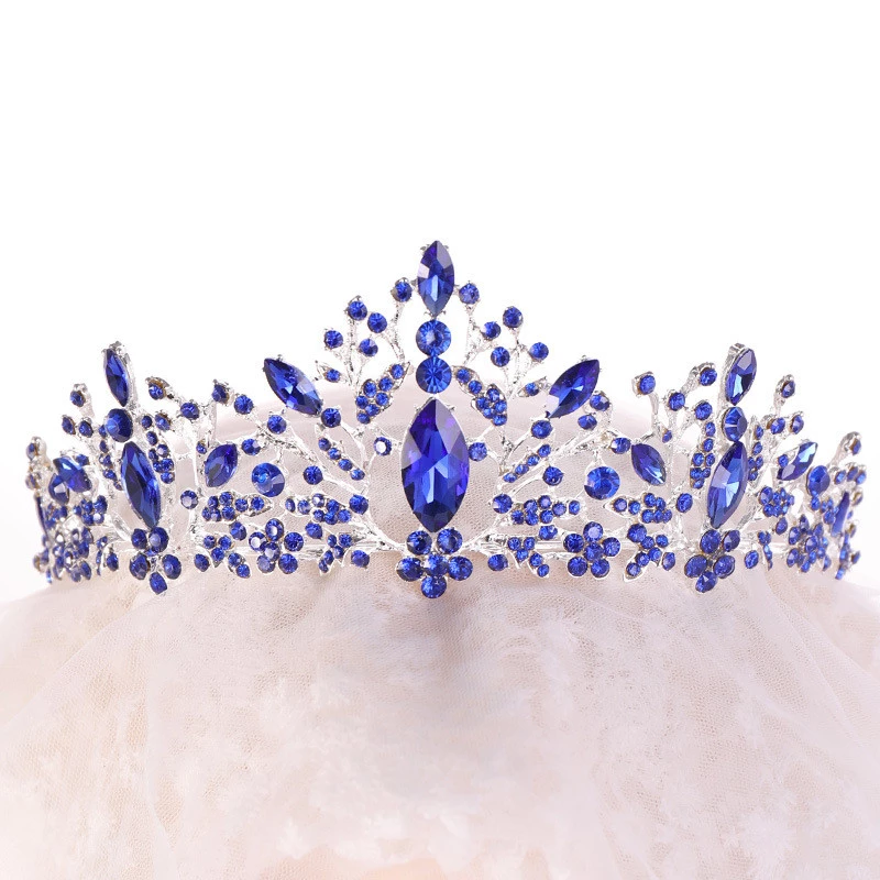 Royal Blue Crown Tiara Metal Crystal Wedding Jewelry For Hair Accessories Women Vintage Rhinestone Bridal Headpiece