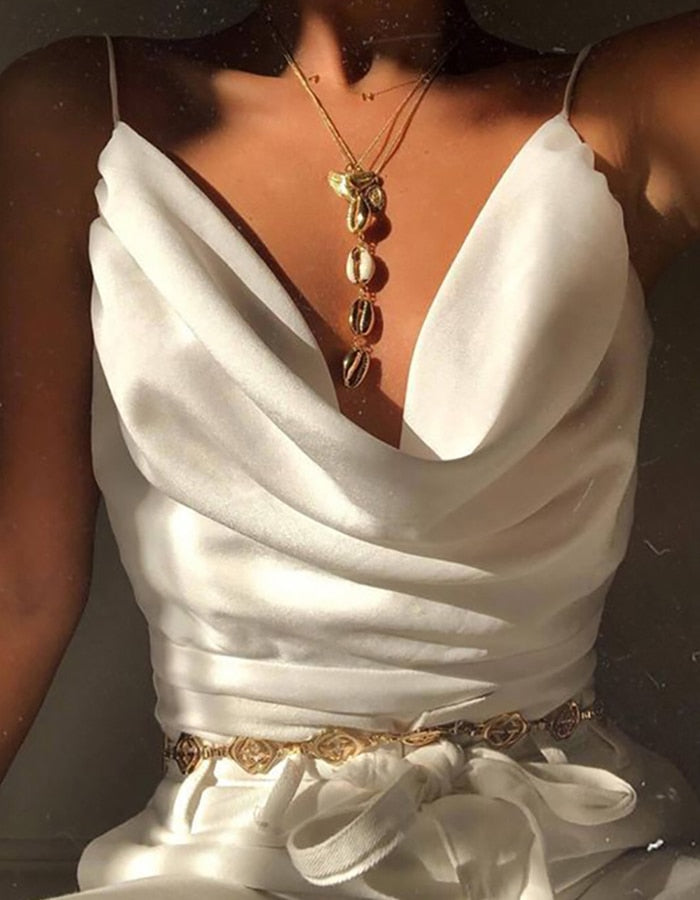Slip Top Vest Sexy Low-cut Satin Blouse Woman 2019 Summer Holiday Chic Ladies Clothing New