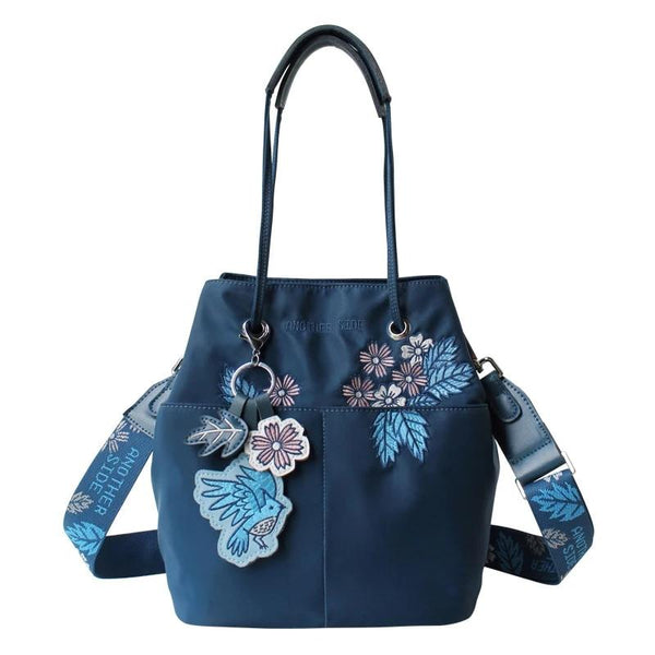 Flower Princess Original Women Handbags Embroidery Bucket Bag for Women Nylon Waterproof Shoulder Bags Female Composite Bags