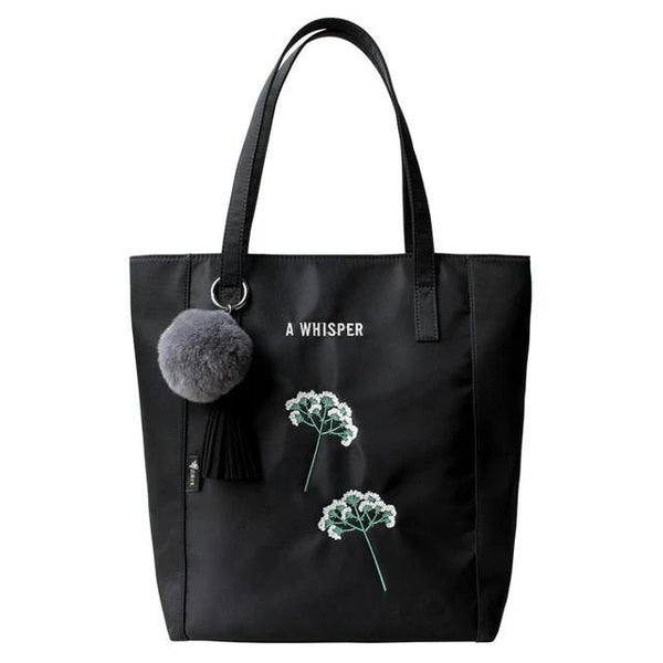 Flower Princess Black Large Tote Bags Hair Ball Tassel Ornaments Shoulder Bag Women Handbags Ladies Hand Bags Female Bag