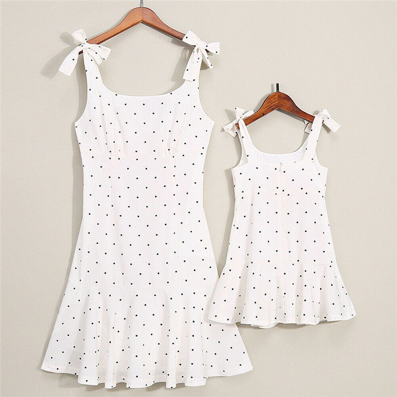 Family Matching Clothing Mother Daughter Dress Polk Dot Mom Girl Kids Family Match Outfit Baby Girl Dresses Vestidos