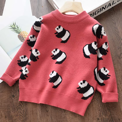Girls Sweaters New Autumn Soft Girl's Jacket Sweater Cartoon Pattern Panda Kids Clothes Warm Children Clothing