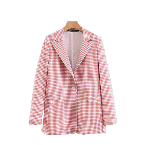 Tangada women chic pink plaid blazer pockets buttons office lady blazer long sleeve coat female outerwear jacket tops