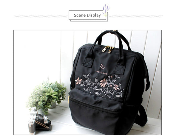 "Embroidery Nylon Backpack Women 14"" Laptop Backpacks Stylish School Bags for Teenage Girls High Quality Backpack"