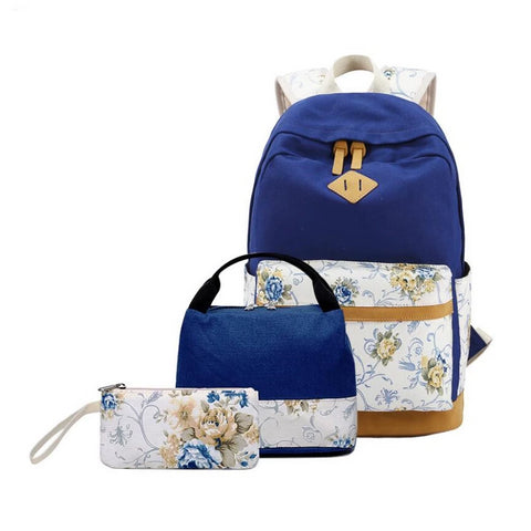 children school bags for girls vintage flower canvas school backpack set kids schoolbag book bag floral pencil bag set