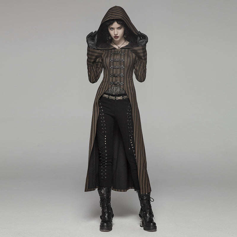 Punk Rave Women Steampunk Jackets Coffee Striped Belt Lace Up Decoration Punk Rock Stage Performance Costume Women Trench Coat