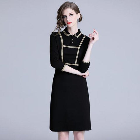 Women Vintage Black Dresses New Elegant Ladies 3/4 Sleeve Slim Ol Office Dress New Female Casual Spring Robe