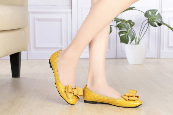 Light Weight Woman Shoes Girls Big Bowknot Flats SLIP-ON Loafers Ladies Summer Ballerina Shoes Yellow