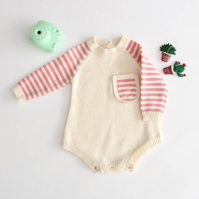 Baby Romper Newborn Autumn Knitted Baby Clothes Striped Cotton Baby Girl Romper Long Sleeve Baby Jumpsuit Boy Romper Jumpsuit