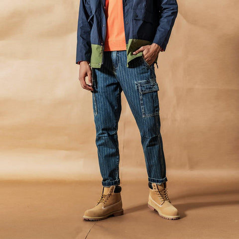 Cargo jeans men vintage Paneled fashion hip hop vertical stripes streetwear washed 100% cotton ankle-length pants