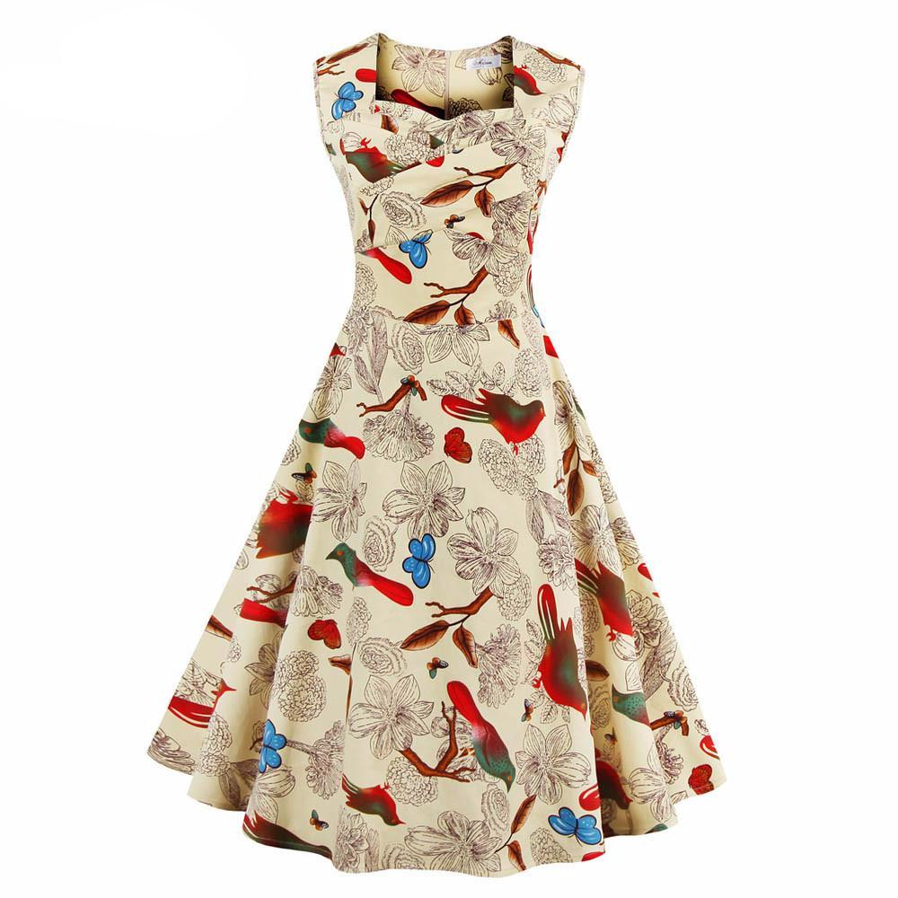 229146ee4e775 Women Dress Summer Floral Print Retro Casual Party Robe Pinup Rockabilly 50s  Vintage Dresses ...