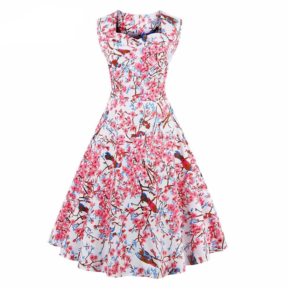 be2af546905 ... Women Dress Summer Floral Print Retro Casual Party Robe Pinup Rockabilly  50s Vintage Dresses ...