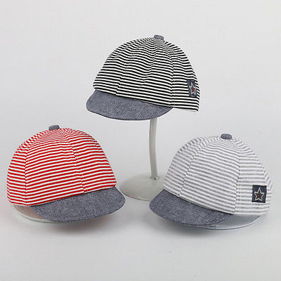 Emmababy Lovely Summer Newborn Baby Kid Girls Boy Striped Sun Cap Cotton Beret Hat  3Color
