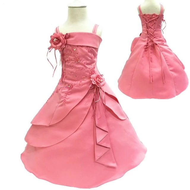 Free Shipping 2T-14T Girl Party Dress Embroidery Satin Beaded Coral Flower Girl Dresses For Weddings Big Size Kids Evening Gowns