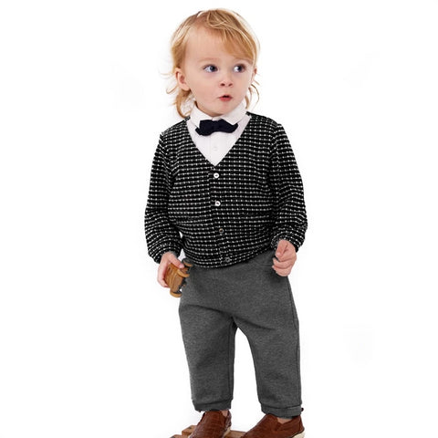New spring baby boys clothing sets toddler children suit high quality Plaid children boy outfits shirts pant Clothes Suits