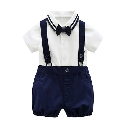 boys clothing sets for baby 0-2 Year summer boy gentleman Tie bodysuit +braces shorts 2pcs set children party clothes suits